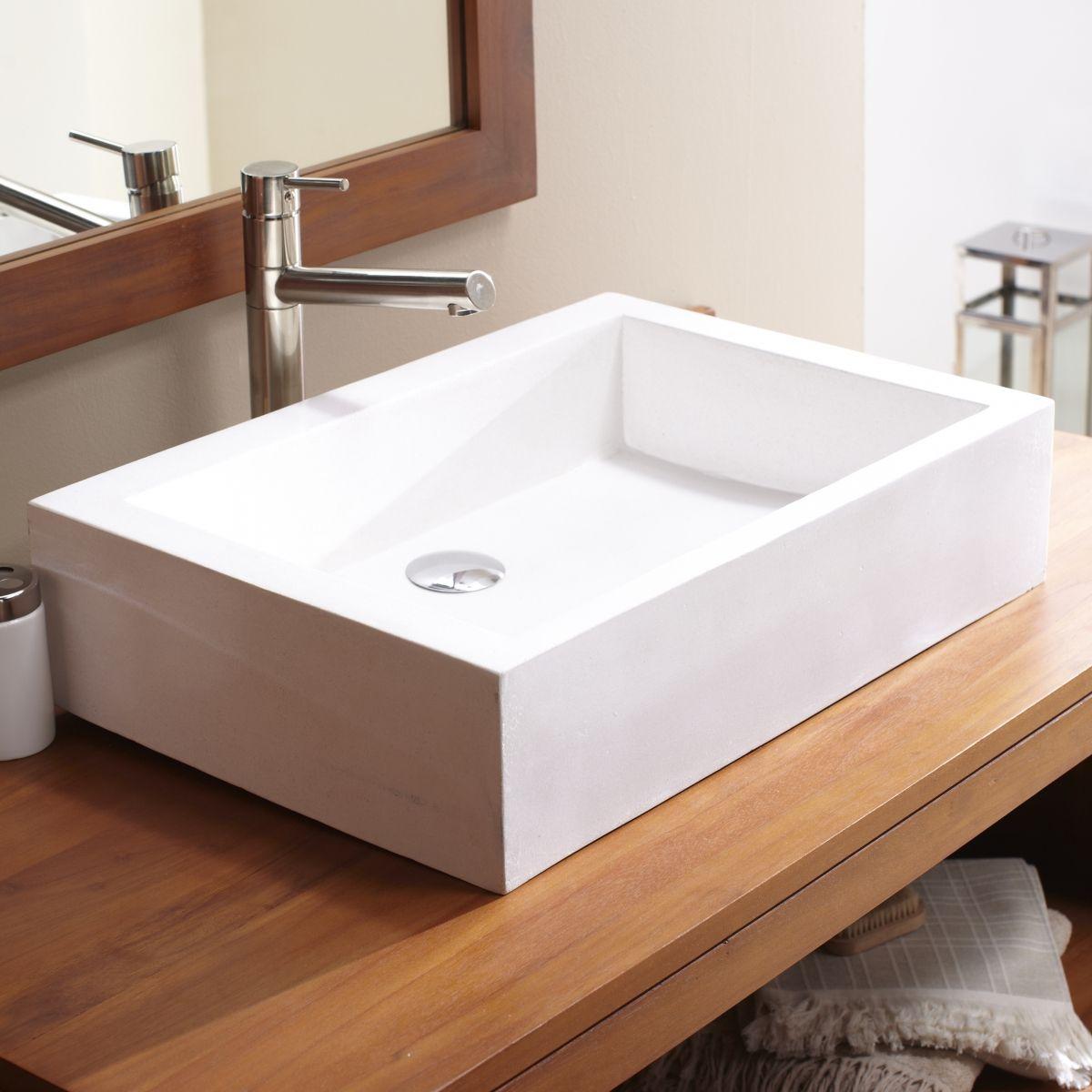 tikamoon waschbecken weiß rechteckig terrazzo für waschtisch