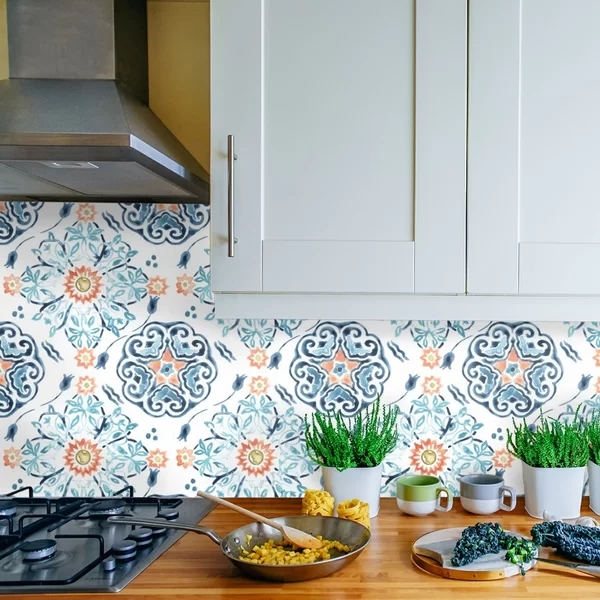 Teresa Medallion Medley 48 L X 24 W Paintable Peel And Stick Wallpaper Panel Peal And Stick Wallpaper Wallpaper Backsplash Kitchen Wallpaper Panels
