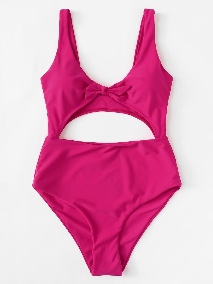 19cd0e9caf1 Knot Front Cutout Swimsuit -SheIn(Sheinside) | summer. | Cut out ...