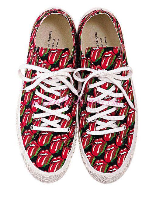9108e20b0003e COMME des GARCONS x Rolling Stones Men's Canvas Shoes | Clothes ...