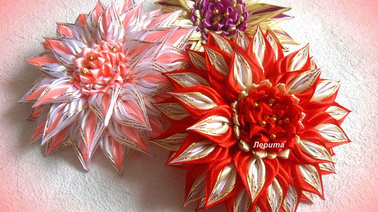 Красивые цветы канзаши из узкой ленты <em>канзаши</em> 0,6 см, МК Лерита