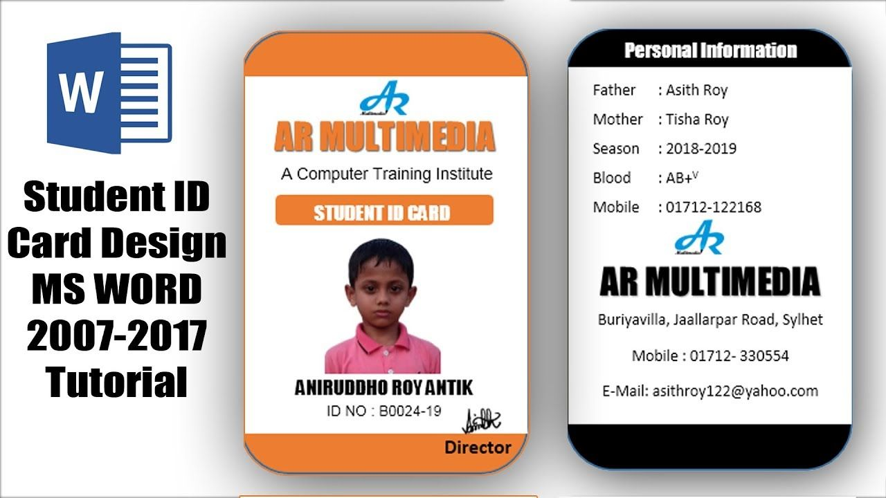 How To Create Professional Student Id Card In Ms Word 2013 Two Part Id Card Design Microsoft Word Regardi Id Card Template Microsoft Word Free Employee Id Card
