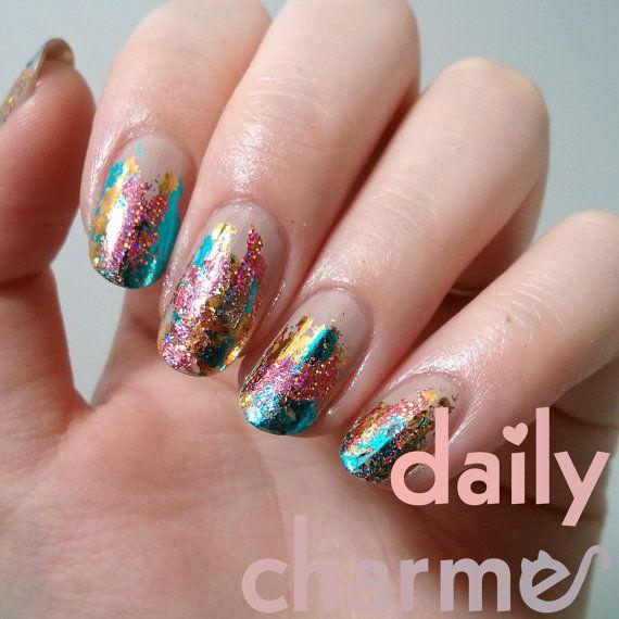 das angebot gilt fr einen satz von 5 stck nagel folie jedes stck verschiedene farbenmuster jedes stck ist ber 2 x 3 in der gre bitte - Muster Fur Nagel