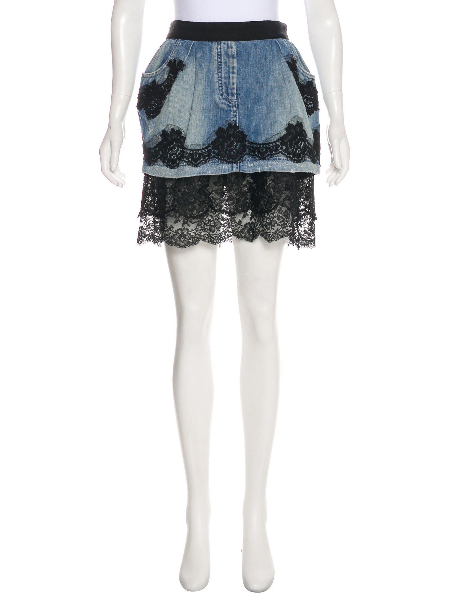 1814ad8439 Lace-Trimmed Denim Skirt in 2019 | Fashion Apparel Clothes | Denim ...