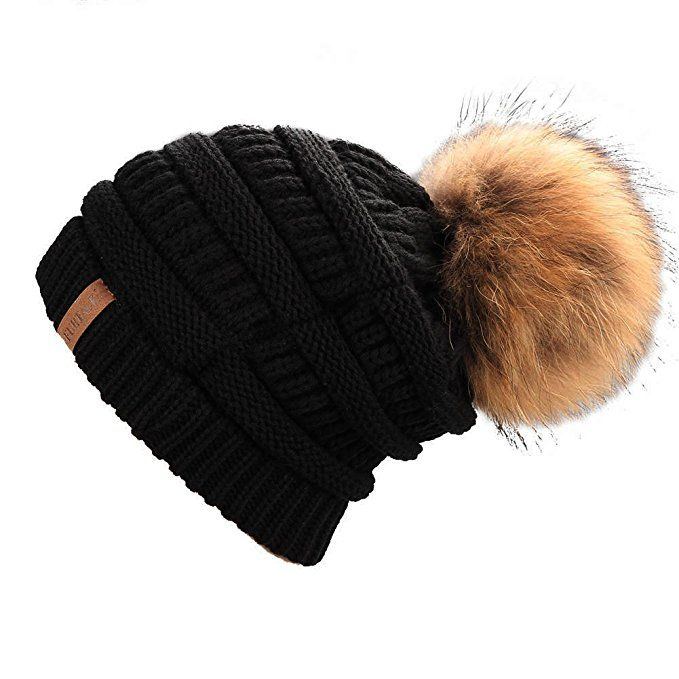 e83379903 FURTALK Warm Chunky Soft Stretch Cable Knit Slouchy Beanie Real Fur ...