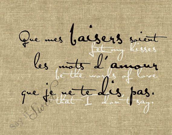 Français : Laisser mon bisous être les mots de l'amour je ne dis pas, 11 x 14 impression (toile de jute montré) en vedette sur la Page avant d'Etsy
