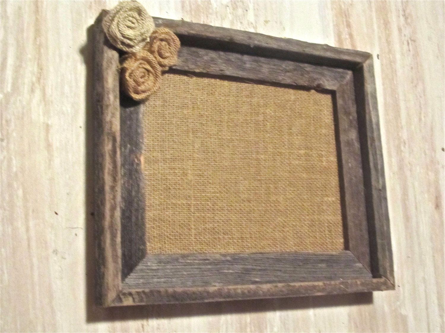 Burlap Frame - Rustic Wood Frame with Burlap Rosettes. $28.00, via ...