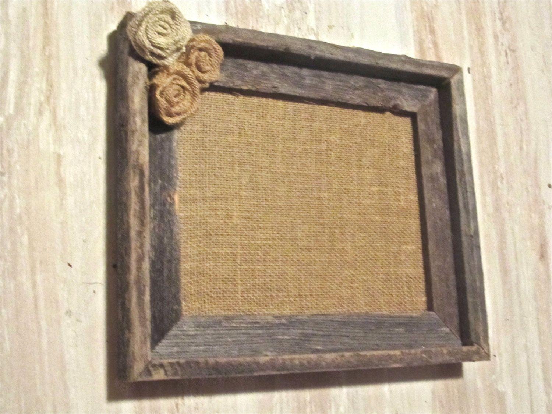 burlap frame rustic wood frame with burlap rosettes 2800 via etsy