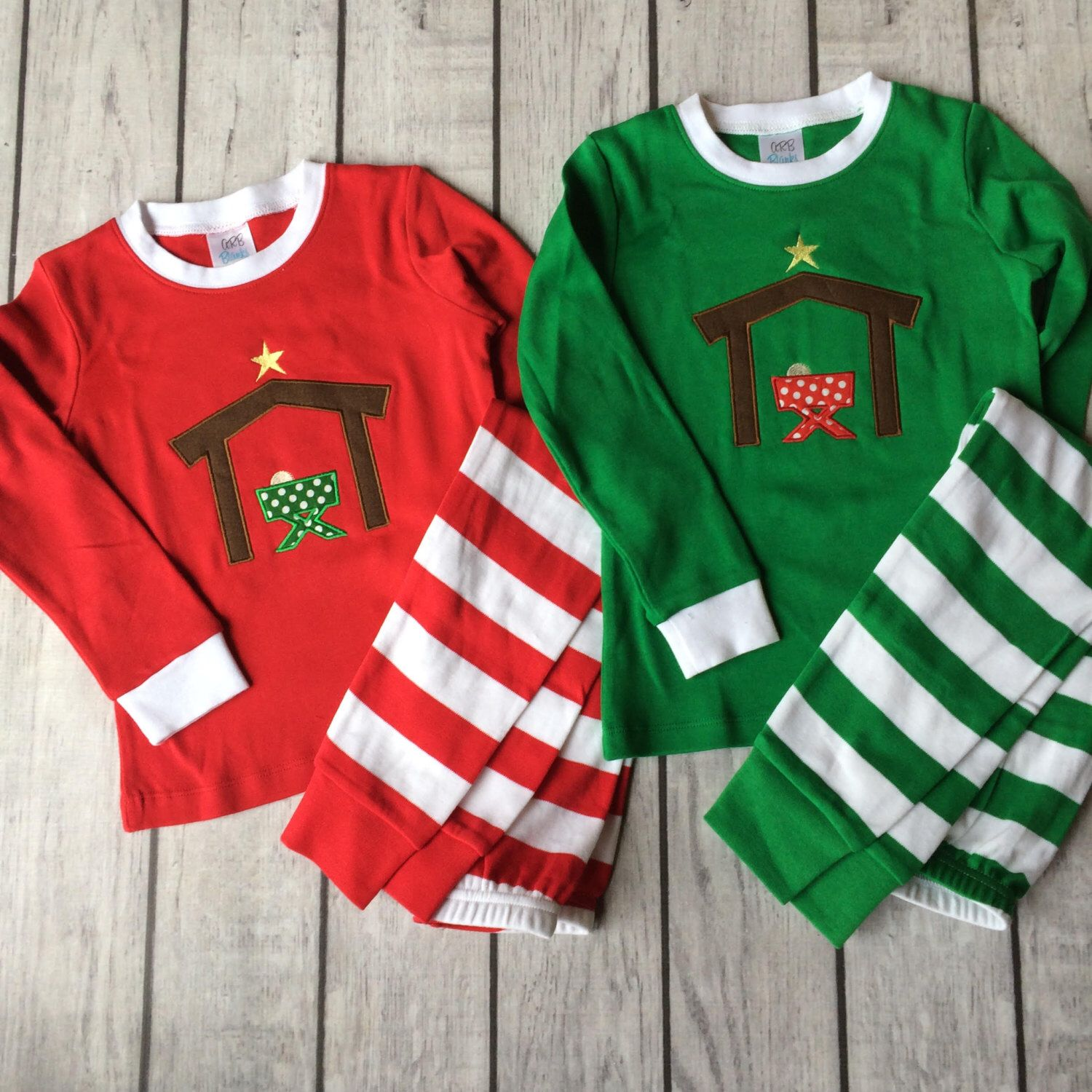 Monogrammed Xmas Pjs Baby, Toddler, Kid Christmas Photos Childrens Personalized