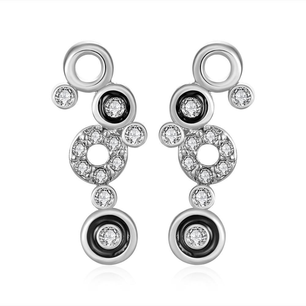 18K Gold Multiple Circle Drop Down Earrings Made with Swarovksi Elements only by: Rubique Jewelry, Women's