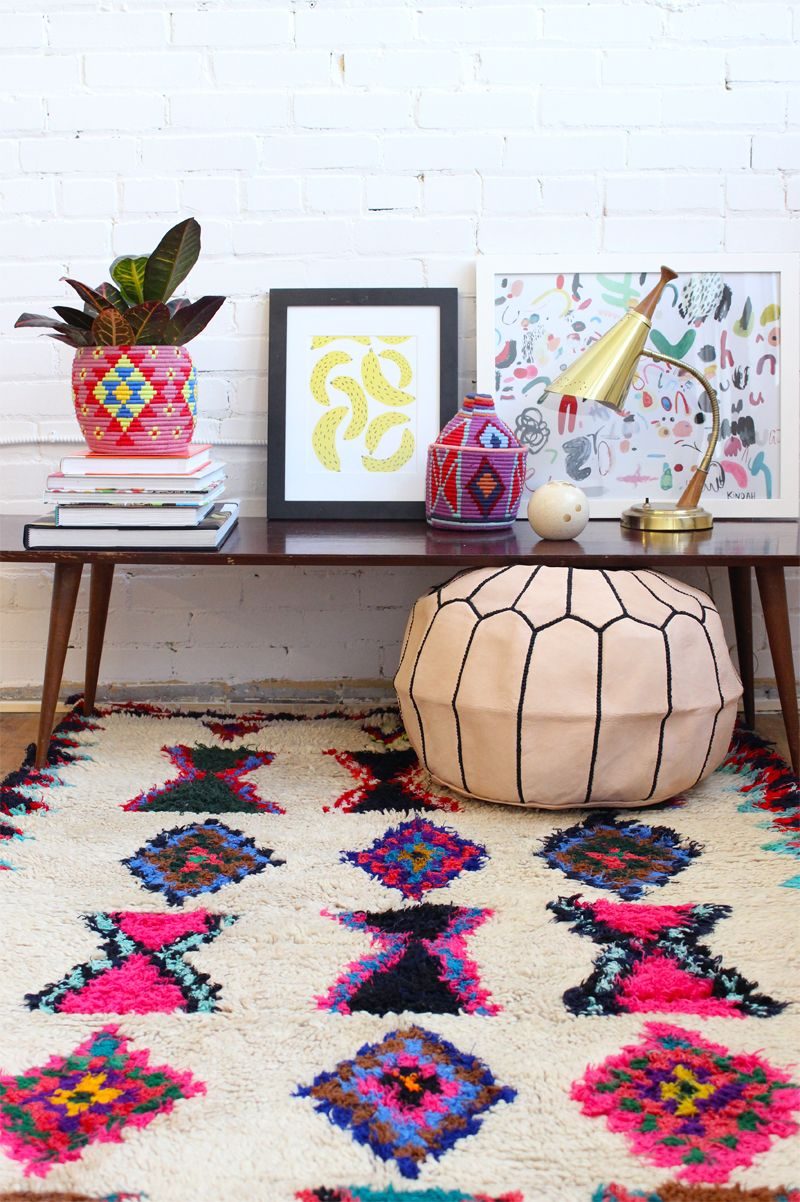 This Rug The Black And White Ones Are Nice But These Colorful Beni Ourain Rugs Where It S At