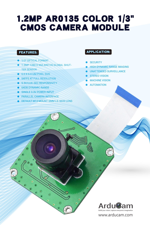 Arducam 1 2mp Ar0135 Color 1 3 Cmos Camera Module Colour Camera Camera Shutter Colors