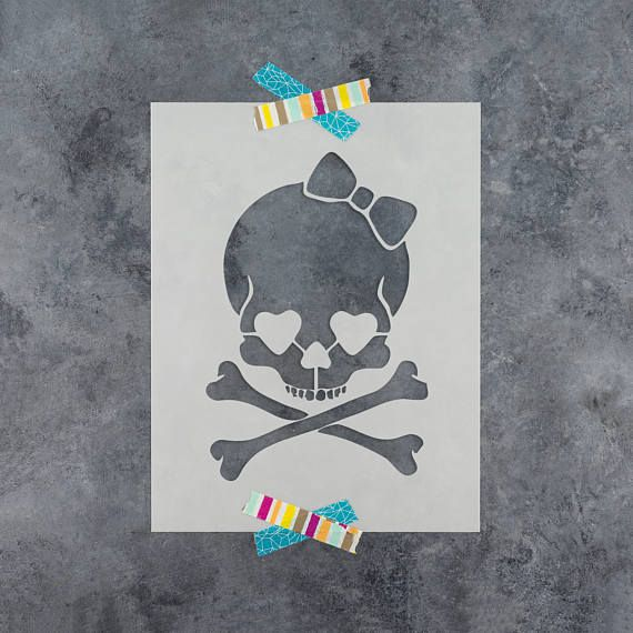 Skull and Cross Bones Stencil Template for Walls and Crafts Reusable Stencils for Painting in Small /& Large Sizes
