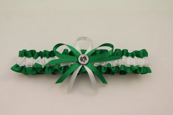 Green And White Toss Garter With Ram Charm Prom By Starbridal