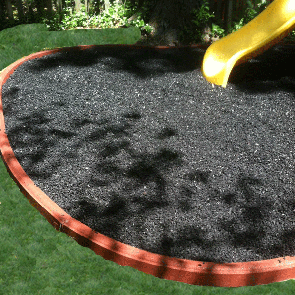 Black recycled playground rubber mulch. Everlast Kids ...