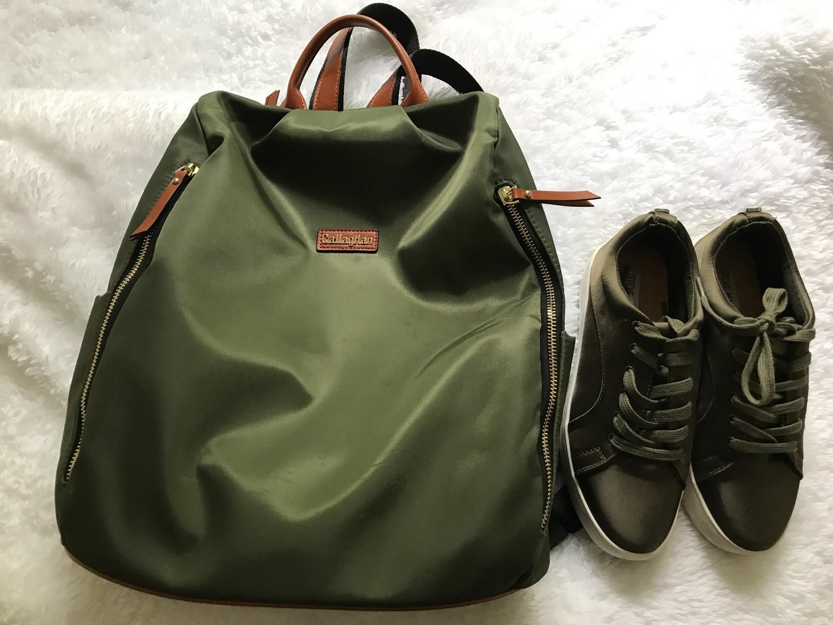8ee83cba7d Amazon.com   CLEARANCE CALLAGHAN Canvas Backpack Purse Large Lightweight  School Backpack for Women Army Green  Clothing