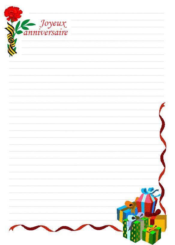 papier a lettre joyeux anniversaire a imprimer papier lettre imprimer pinterest. Black Bedroom Furniture Sets. Home Design Ideas