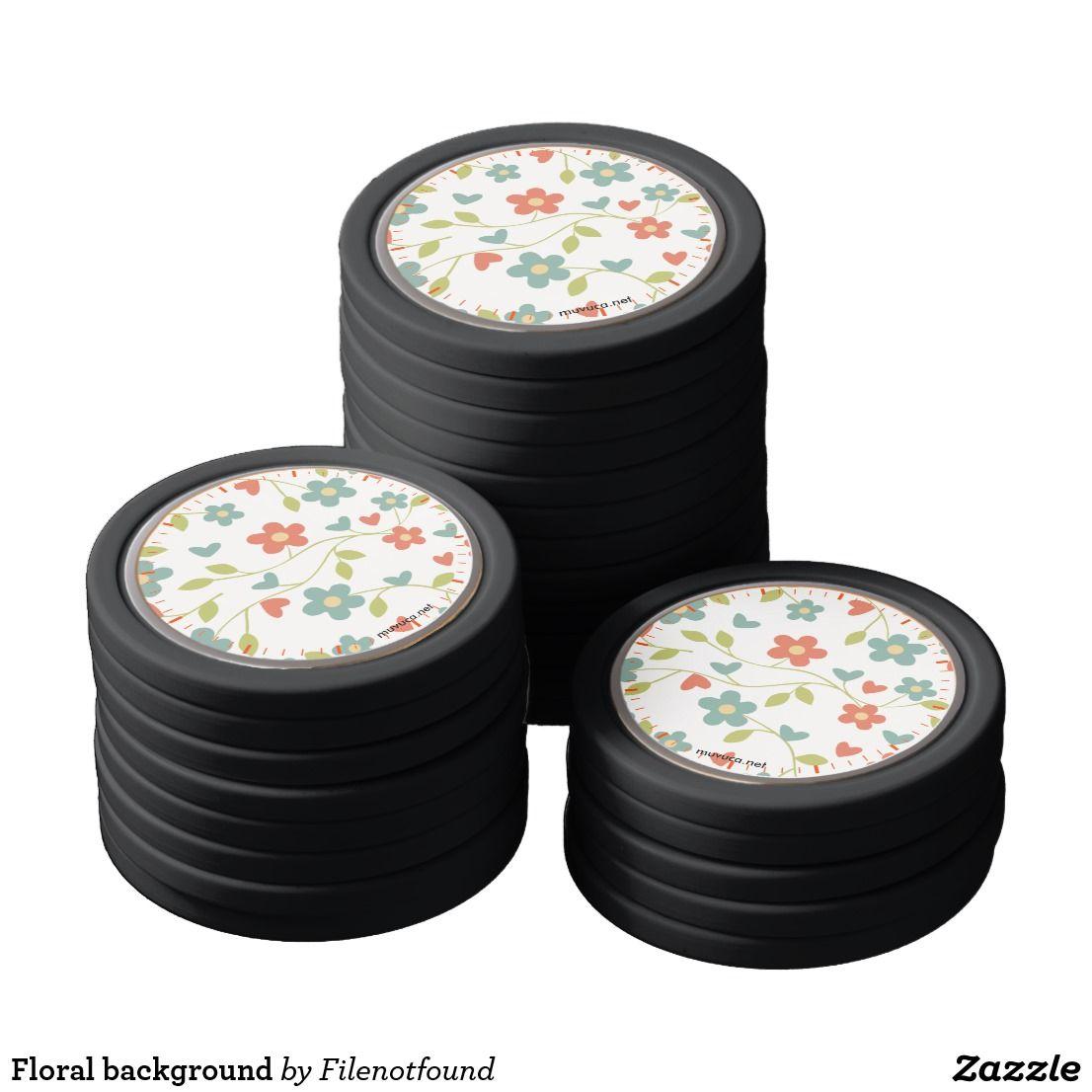 Floral background poker chips floral