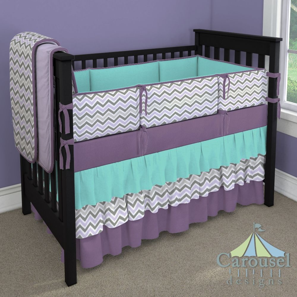 Turquoise And Gray Chevron Baby Bedding