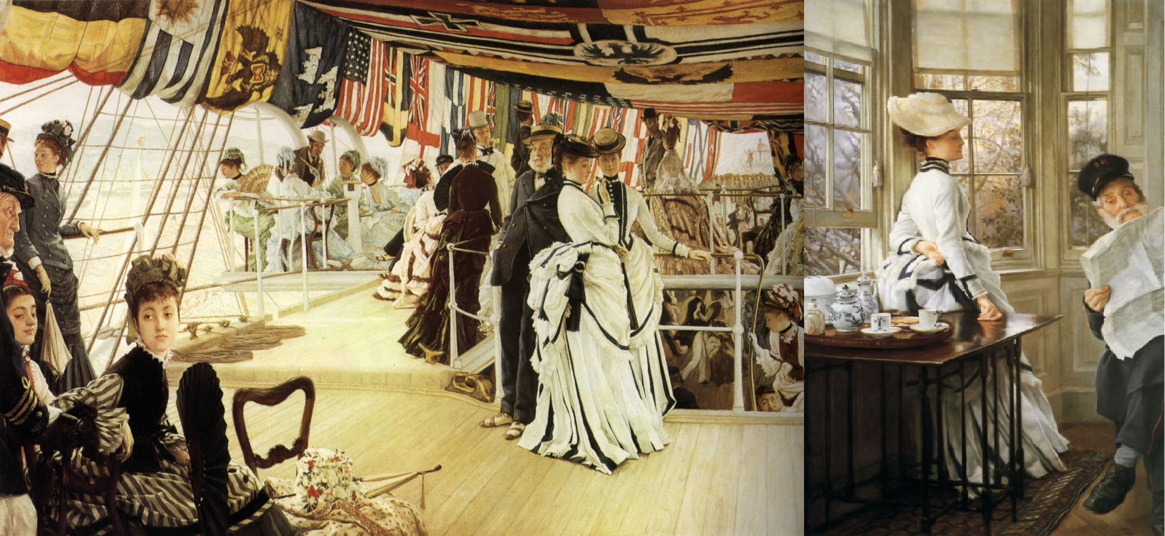 Am I the only one who noticed that the dress wich the lady wears in 'Reading the News' by James Tissot (Oil on Canvas 1874) is the same as the dress in 'The Ball on Shipboard' by James Tissot