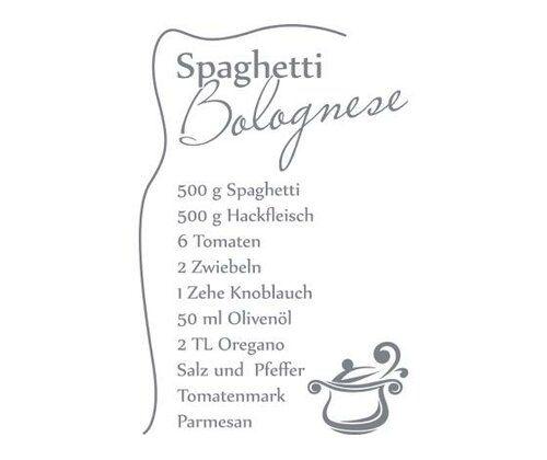 Spaghetti Bolognese Recipe Wall Sticker East Urban Home Colour: Grey, Size: 100 cm H x 152 cm W