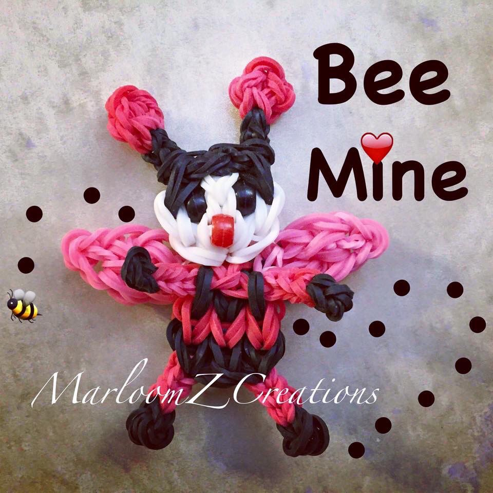 Bee My Valentine Use The Baby Bee Tutorial And Just Switch The Colors Around Rainbow Loom Rainbow Loom Charms Rainbow Loom Creations Rainbow Loom