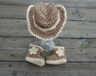 Neugeborenes Baby Cowboy Hut Häkeln Stiefel Foto Prop Set Dusche