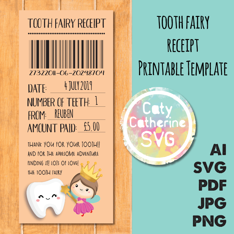 Tooth Fairy Receipt Thank You For Your Tooth Printable Pdf Template Caty Catherine Tooth Fairy Receipt Tooth Fairy Pdf Templates