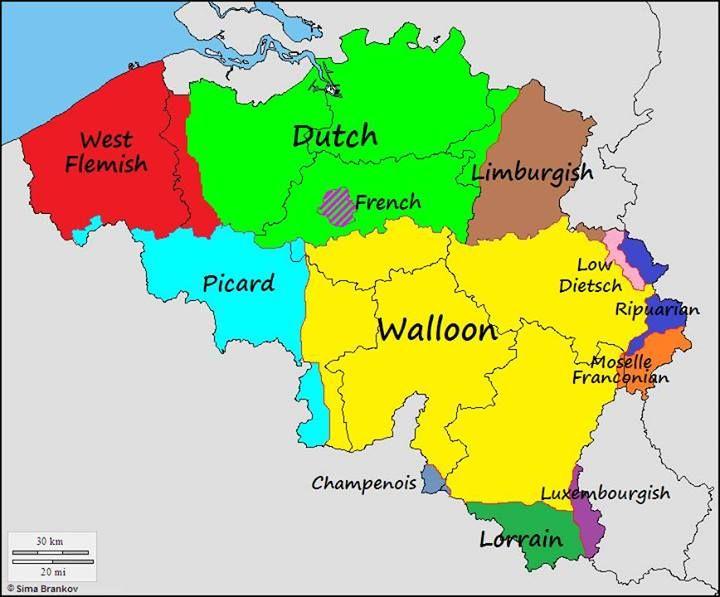 Belgium Language Map Languages of Belgium | I Be Linguist: Isoglosses and Maps | Map