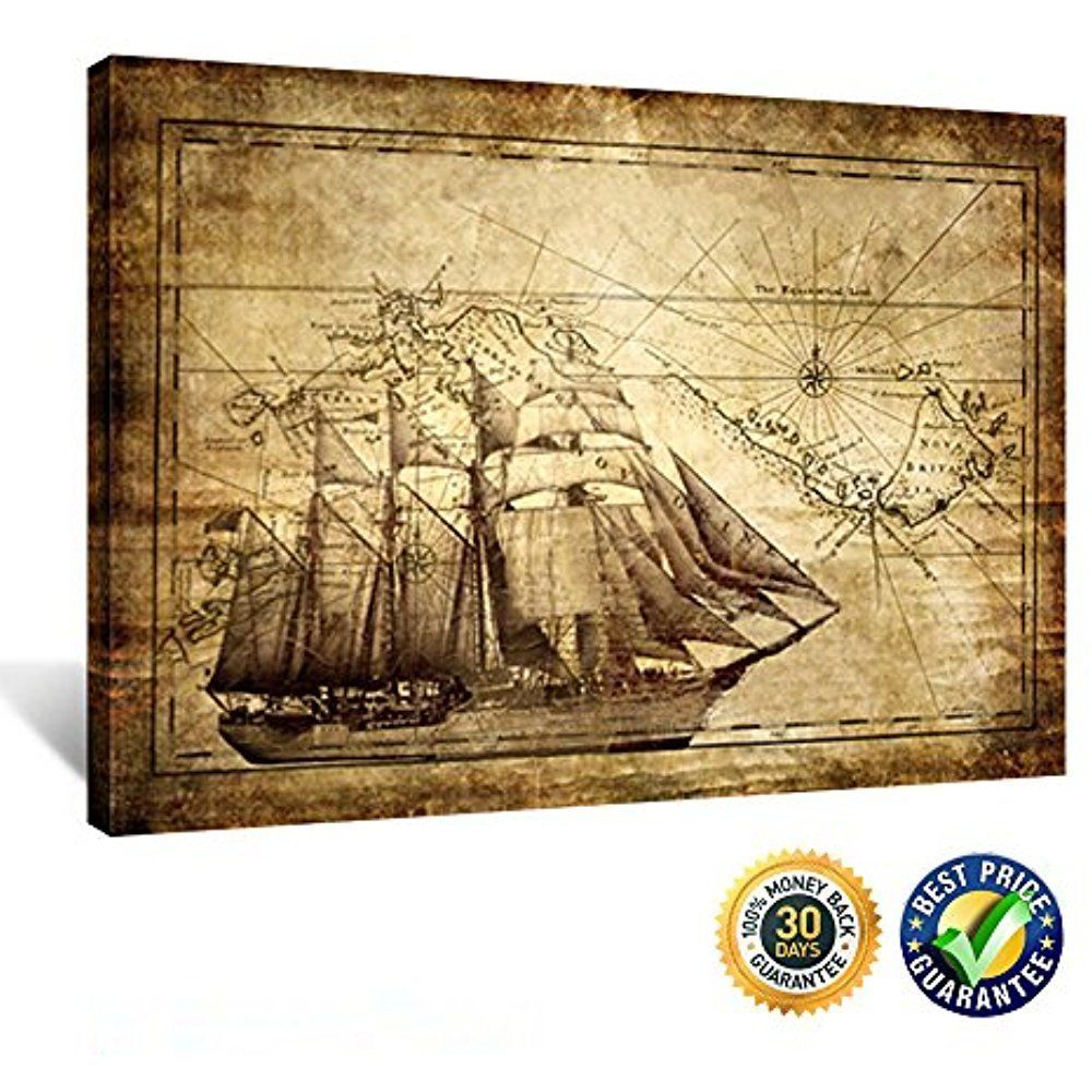 Framed Vintage Retro Map Ocean Sailing Ship Canvas Picture Prints ...