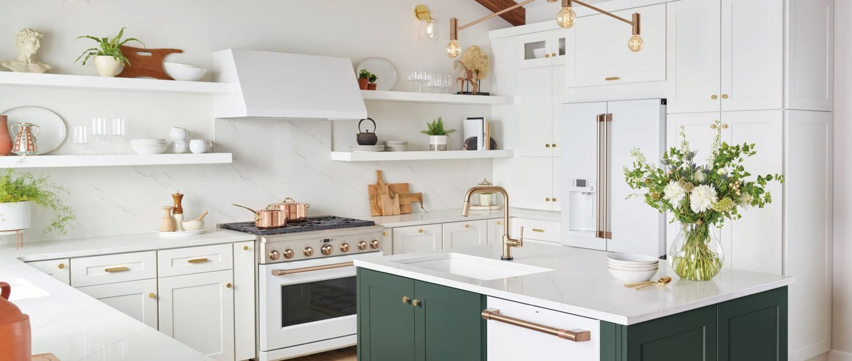 White Matte Kitchen With Brushed Bronze Stainless Steel And Copper Brushed Copper Handles And Latest Kitchen Trends Kitchen Trends White Kitchen Appliances