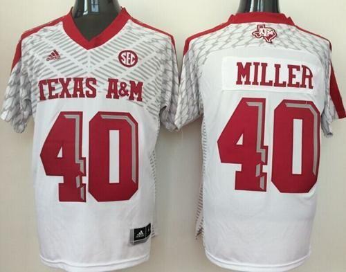 5924751c2 Aggies  40 Von Miller White SEC Patch Stitched NCAA Jersey