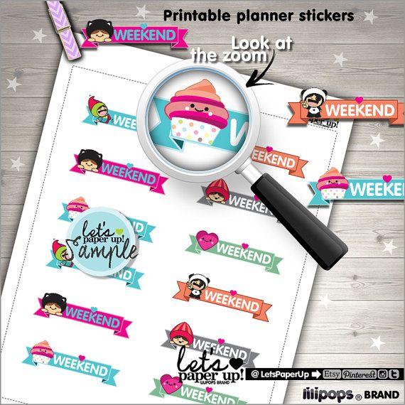 Weekend Stickers, Printable Planner Stickers, Erin Condren, Labels School, Kawaii Stickers, Planner Accessories, Cute Stamps, Weekend Stamps