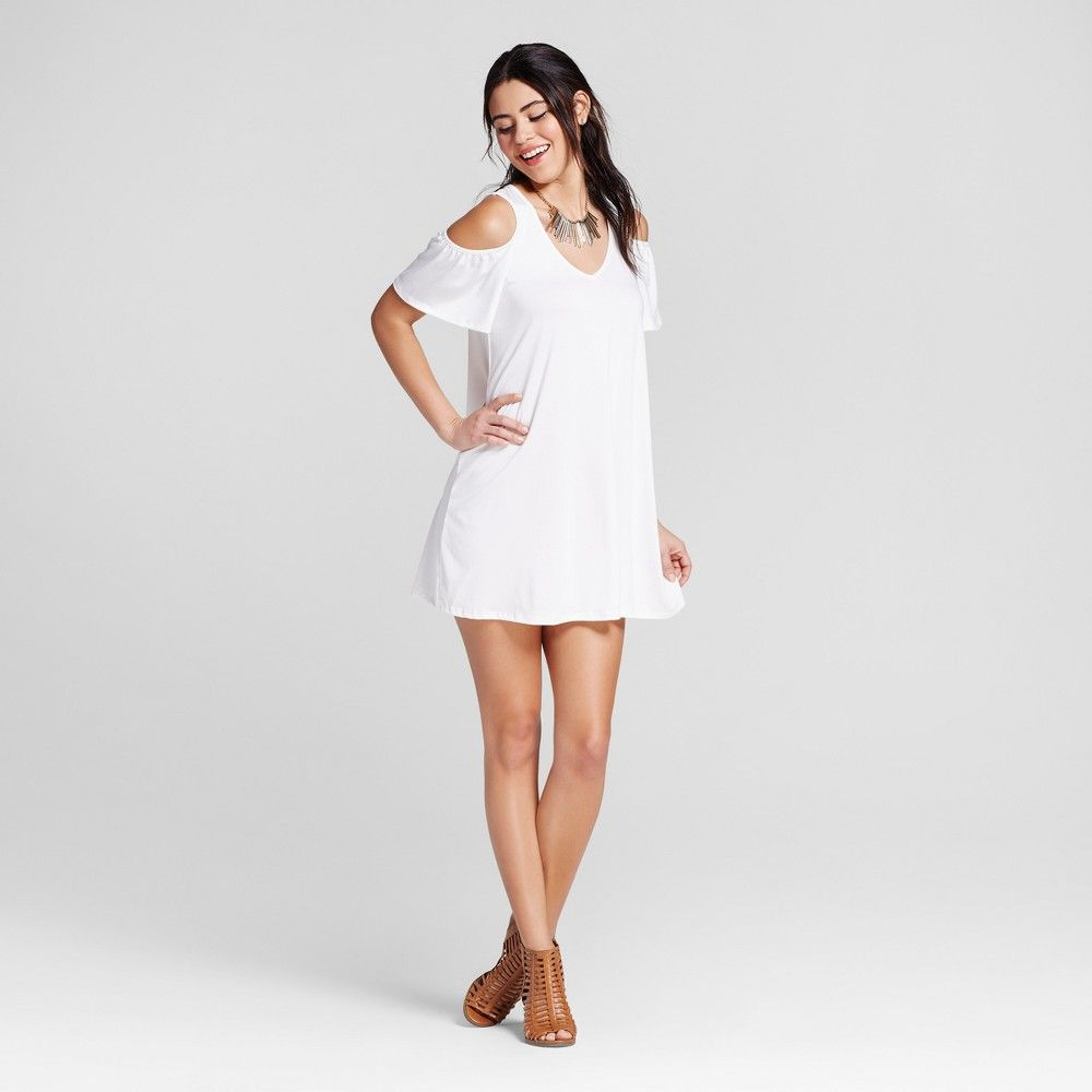 Womenus cold shoulder vneck swing dress ivory m soul cake