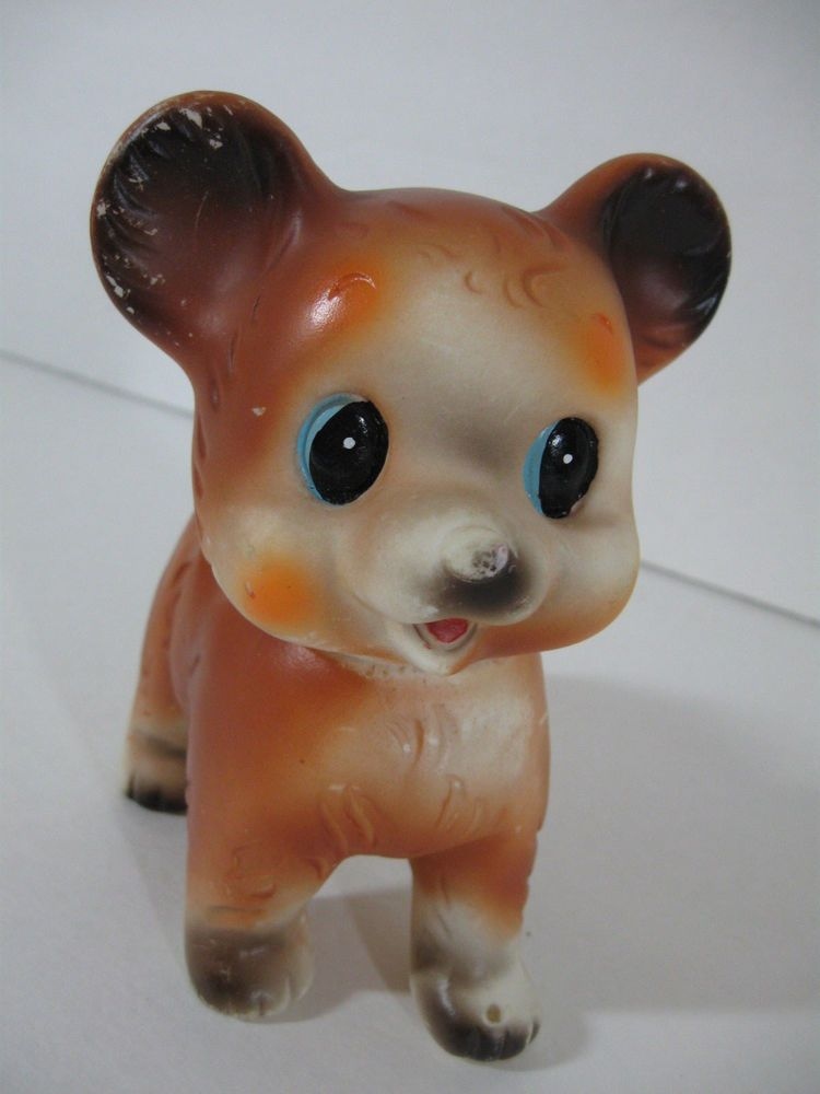 Vintage Small Brown rubber Squeaky Dog Toy marked Japan