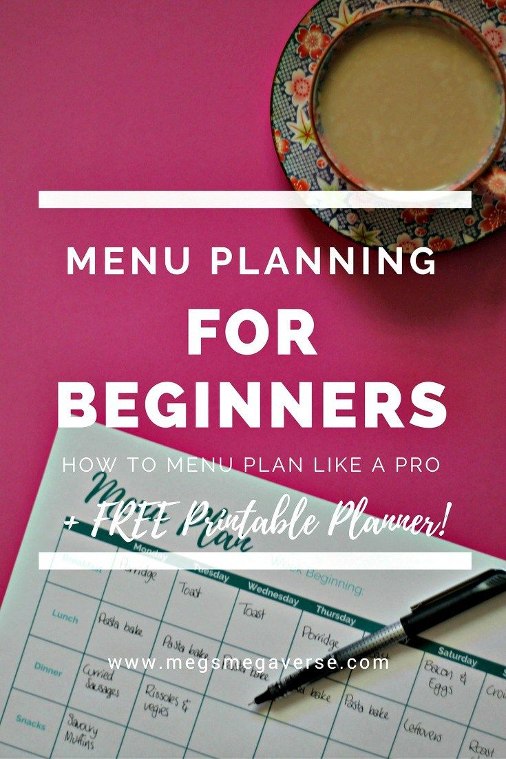 menu planning for beginners