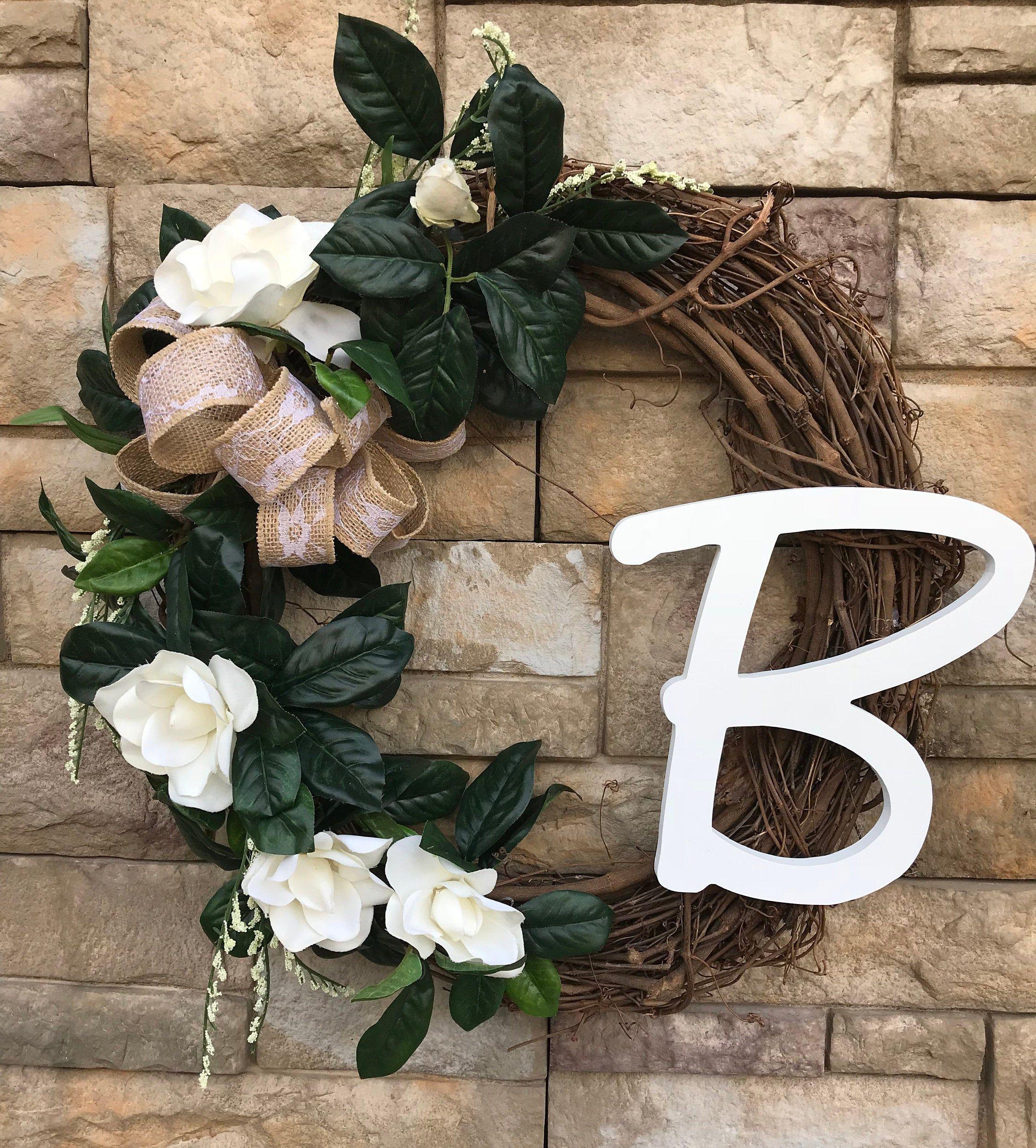 Photo of CAN'T CUSTOMIZE-Large Monogram Magnolia Wrerath-J-M-S-B-Available-Large Silk Magnolia Wreath-Personalized Monogram Wreath-Magnolia Decor