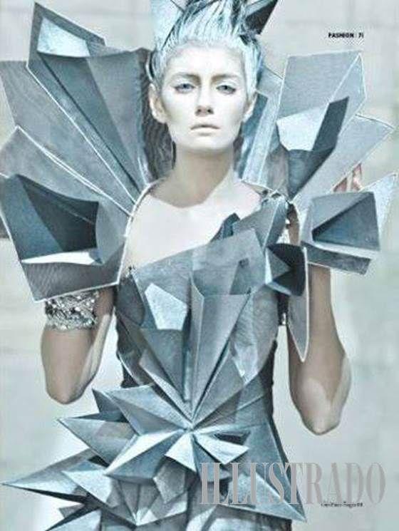 Architectural Avant Garde - dress inspired by Kinemax Futuroscope in Poitiers, France by Dan Delima; photo by Eros Goze; Illustrado Magazine