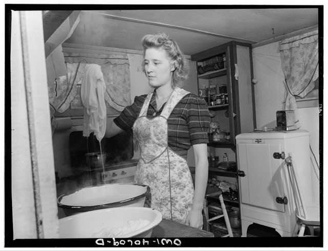 1943- Woman washes diapers for 8 week old every day.  Image, Source: digital file from intermediary roll film