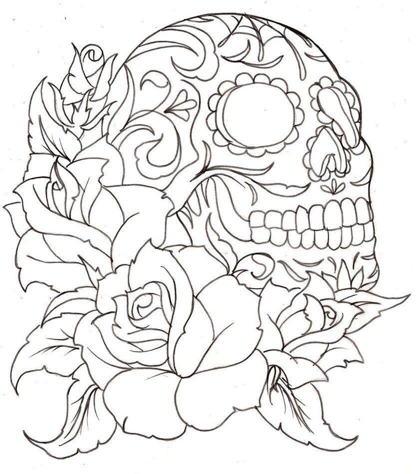 Skull Tattoos For Females Jpg 841 949 Skull Coloring Pages Tattoo Coloring Book Rose Coloring Pages