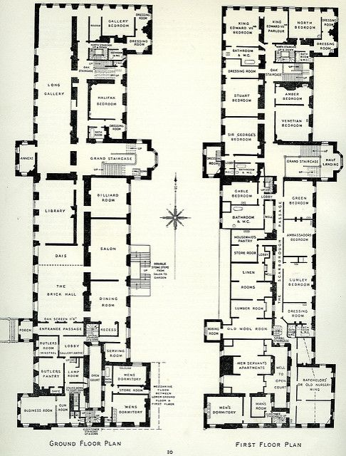 8 Rufford Abbey Nottinghamshire 1938 Ground First Floor Plans Floor Plans Country House Plans Apartment Floor Plans