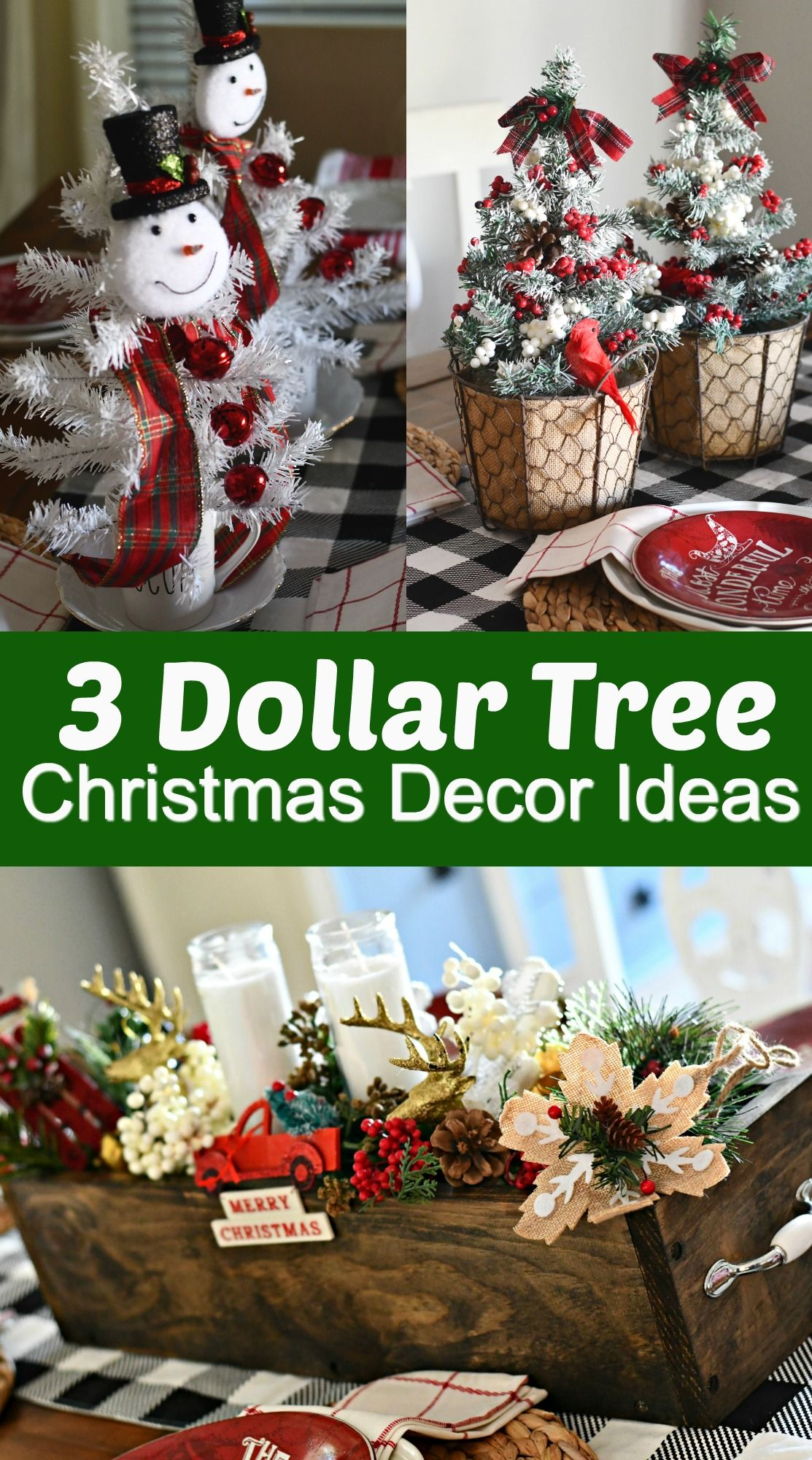 3 Simple & Fun DIY Dollar Tree Christmas Centerpieces #dollarstores