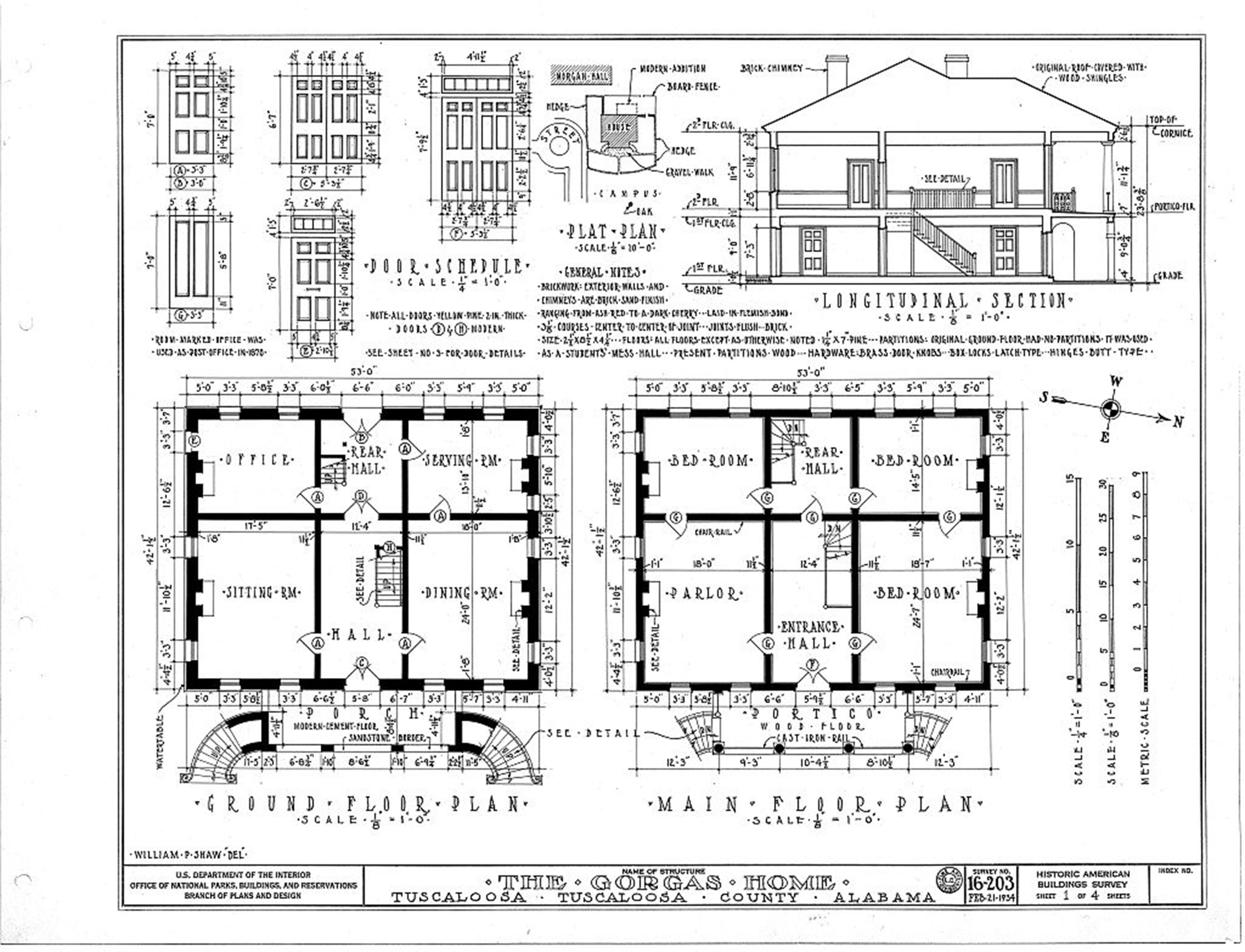 """1 of 4: Interior Plans of Gorgas House."""" Built 1829, detailed ..."""