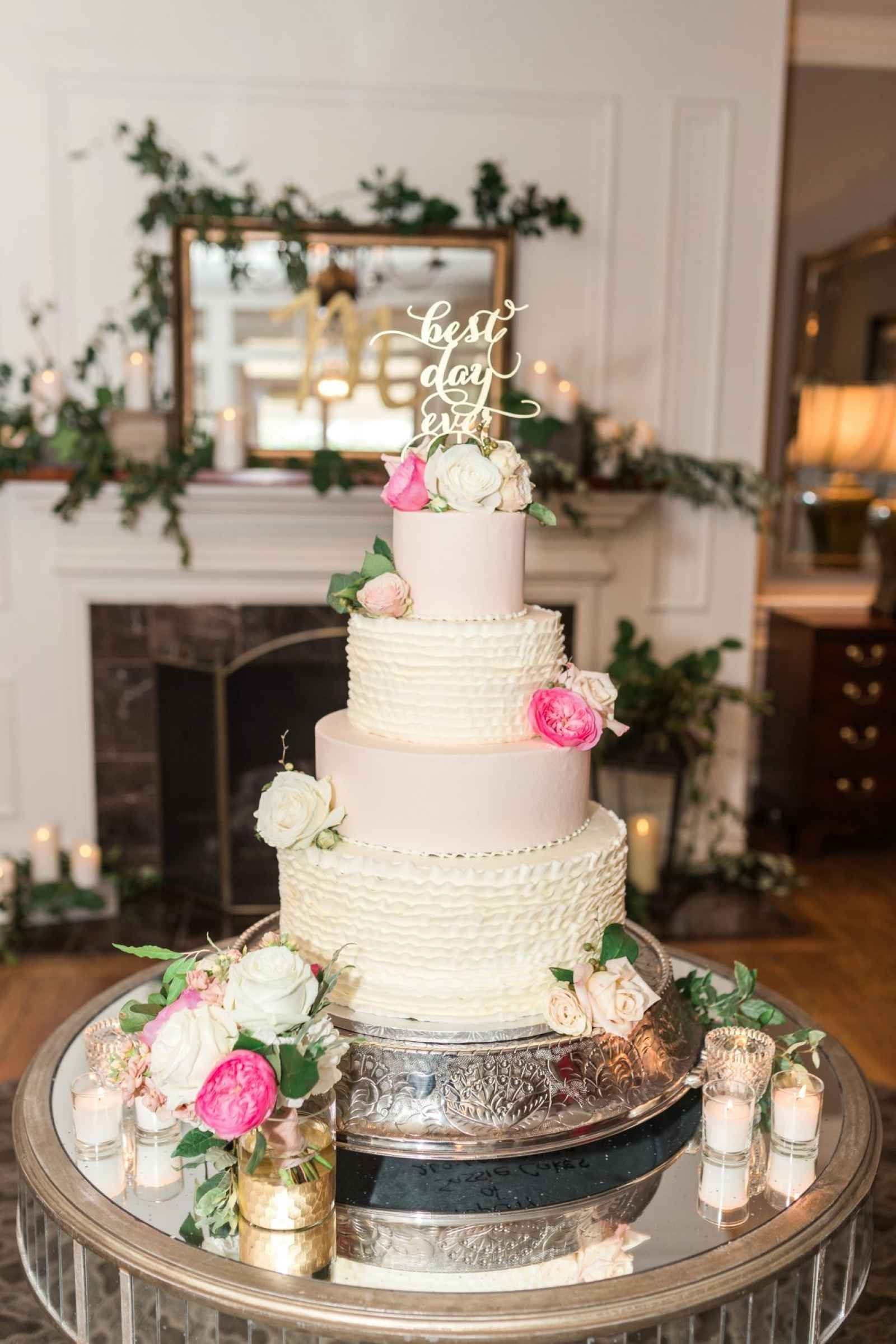 White And Pale Pink Cake Flowers On Wedding Cake Silver Bottom