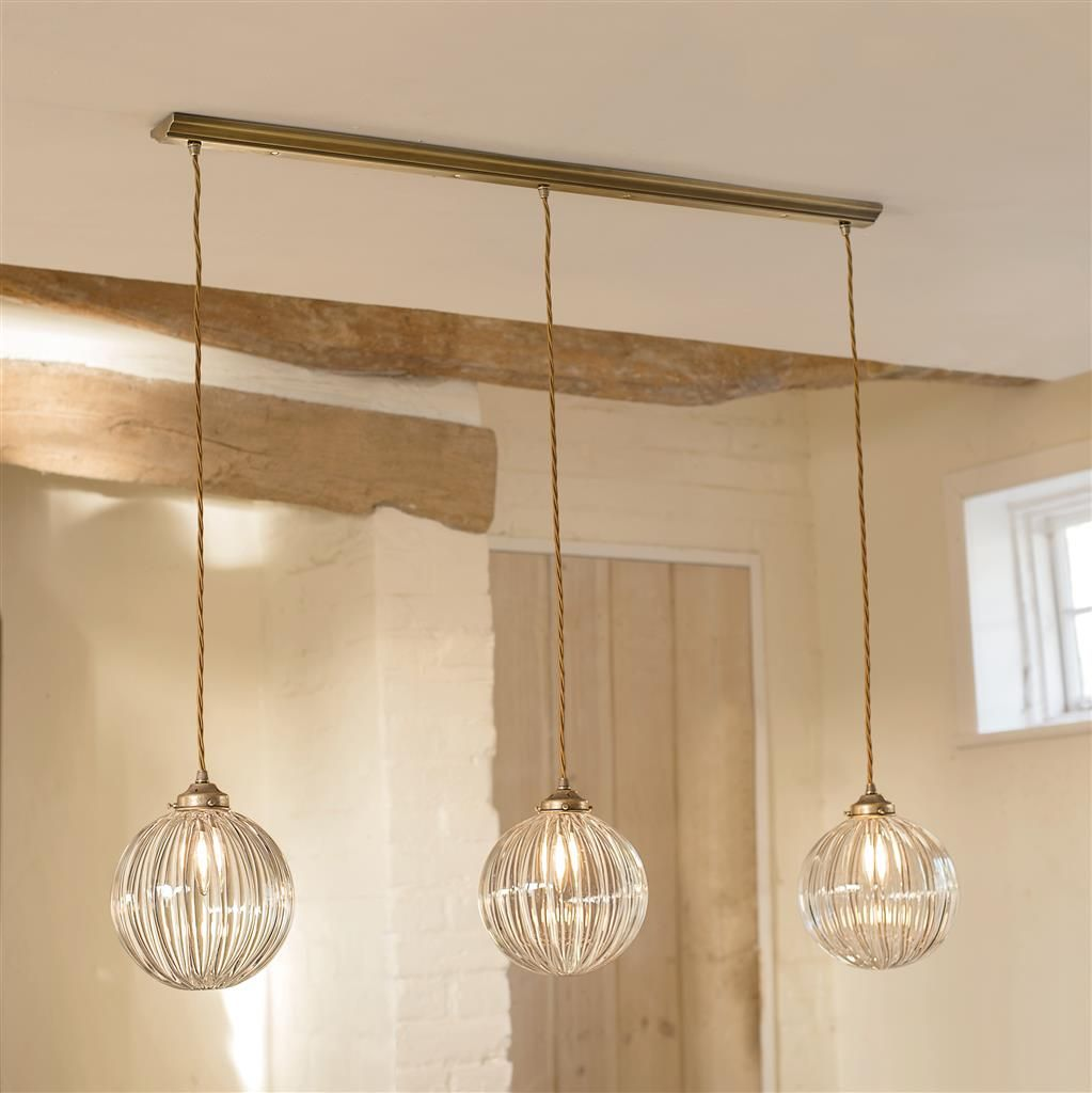 Fulbourn triple pendant track in antiqued brass lighting fulbourn triple pendant track light fluted glass classic brass mozeypictures Gallery