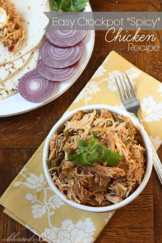 "Easy Crockpot ""Spicy"" Chicken Recipe | MyBlessedLife.net @Myra Cherchio Cherchio"