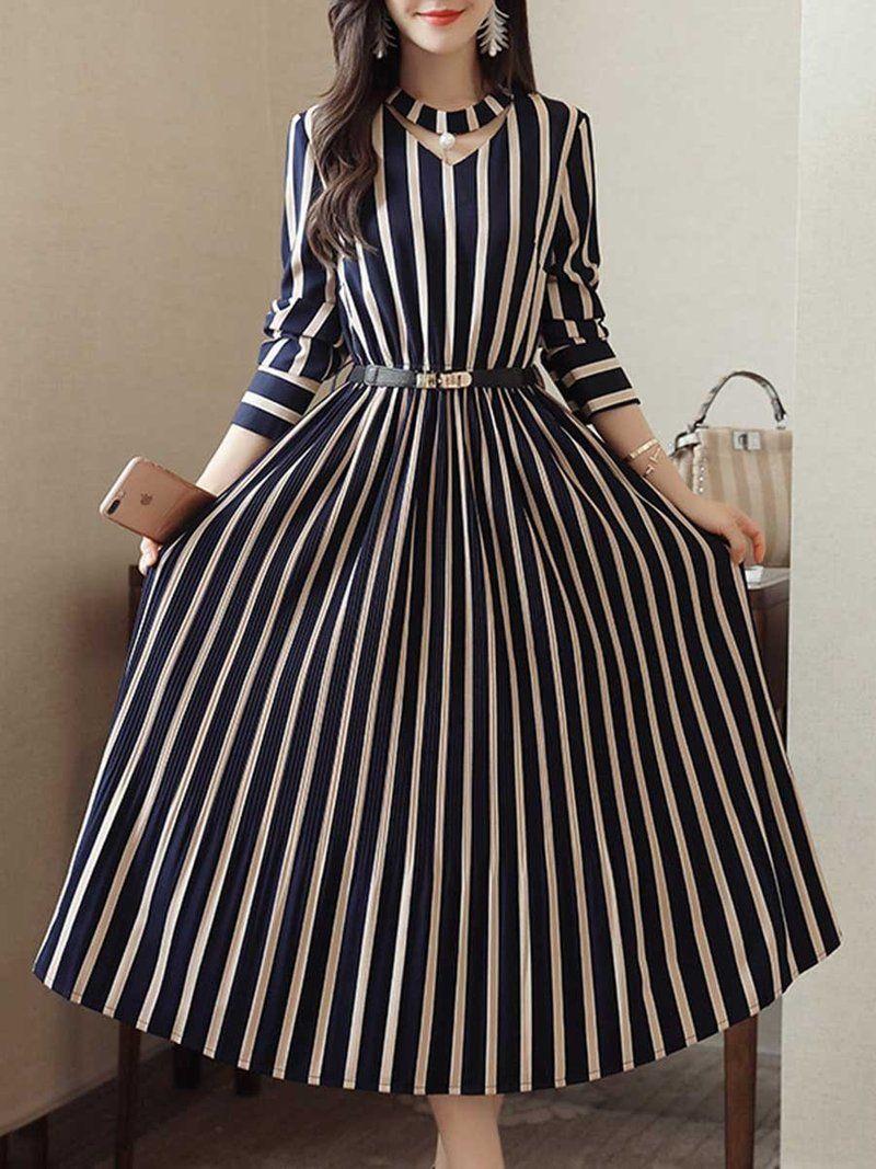 Round Neck Cutout Vertical Striped Belt Midi Skater Dress Long Sleeve Striped Dress Striped Dress Womens Dresses [ 1067 x 800 Pixel ]