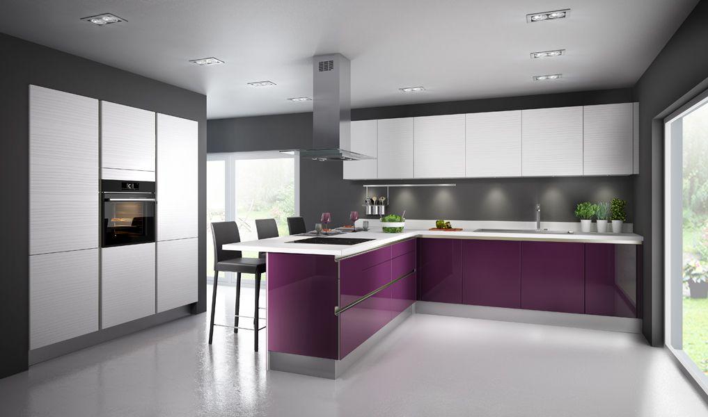 Une Cuisine Aubergine Pour Ambiance Chic Cuisine And Interiors - Meuble cuisine aubergine pour idees de deco de cuisine