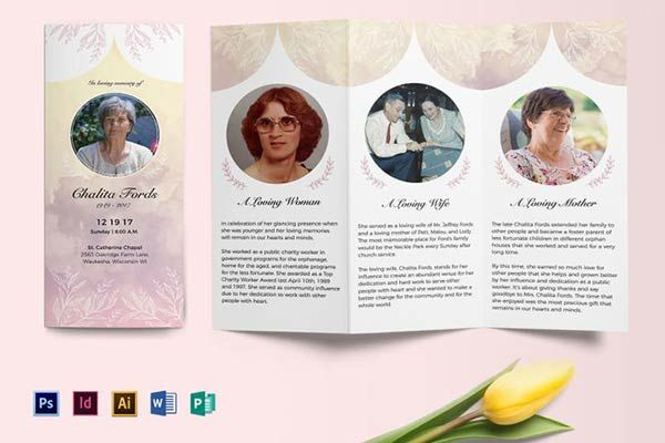 Funeral Tri Fold Brochure Template Dads Memorial Pinterest