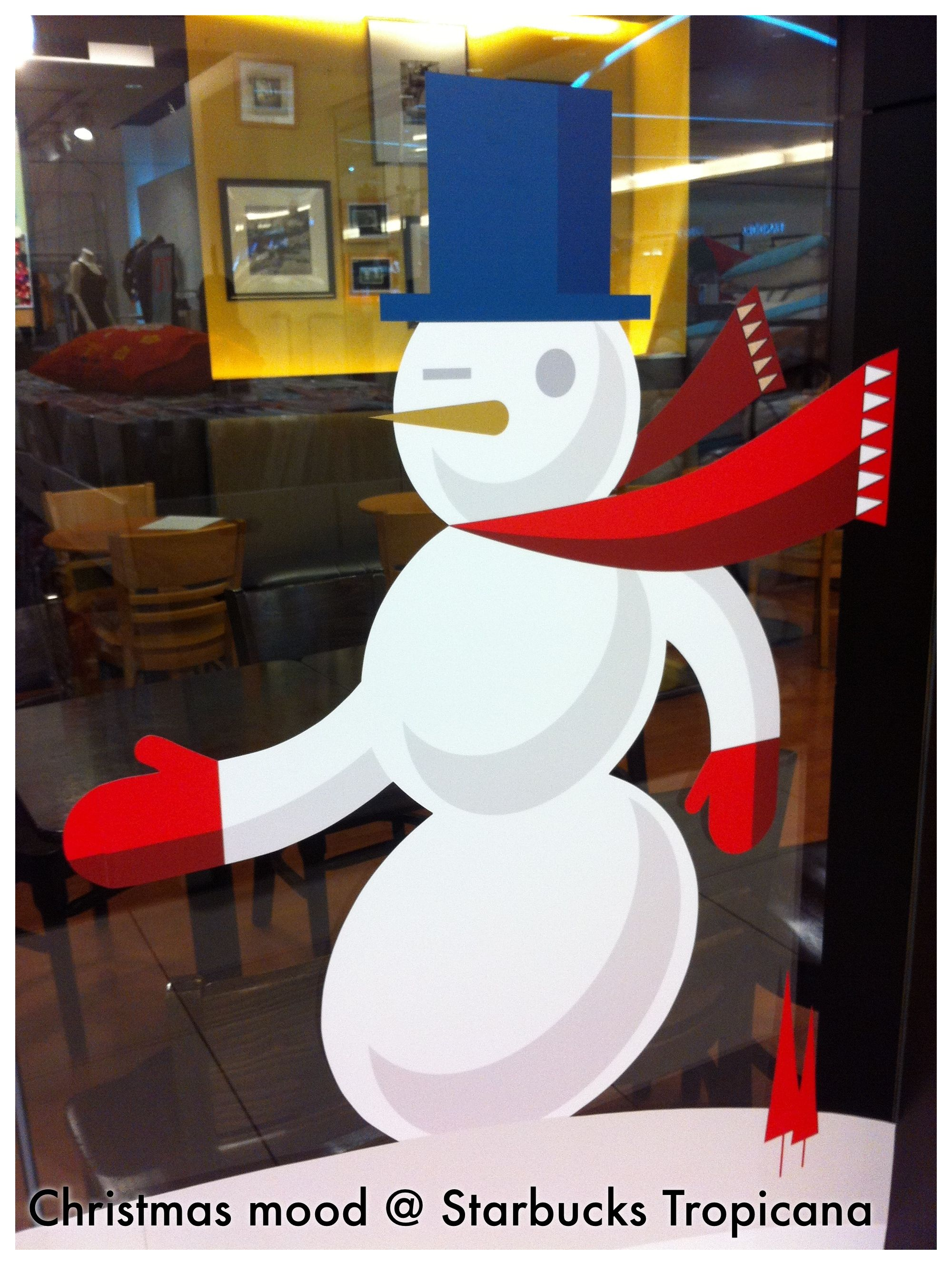 Frosty the snowman was a jolly happy soul, With a corncob pipe and a button nose And two eyes made out of coal....Starbucks 2012 @ Tropicana City Mall